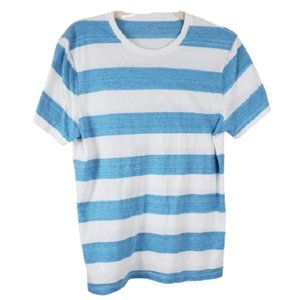 Old Navy White & Blue Striped Short Sleeve Tee M